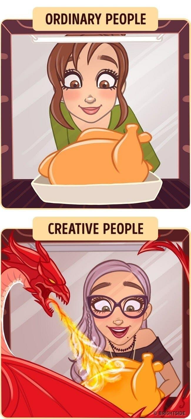creative people cartoon with dragon cooking turkey