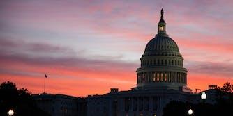 The U.S. Capitol building at dawn.