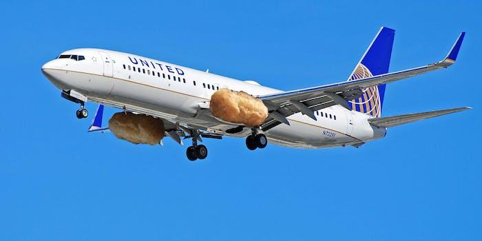 United plane with chicken nugget engines