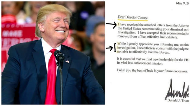 donald trump james comey secret message: picture of letter comey sent trump highlighted to say 'I win'