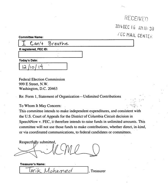 First page of FEC application