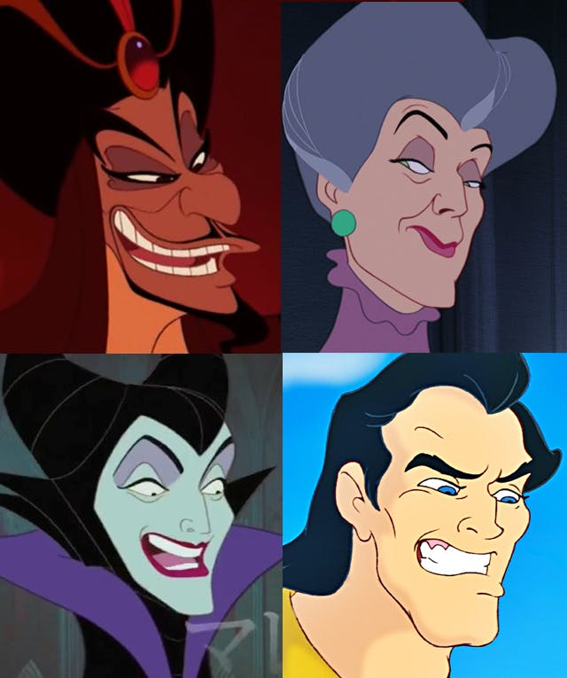 comparison collage showing Jafar from Aladdin side by side with Madame Tremaine from Cinderella; below, Maleficent from Sleeping Beauty next to Gaston from Beauty and the Beast. All are facing to the right, with similar cruel smiles that show many of the physical features Disney villains have in common.