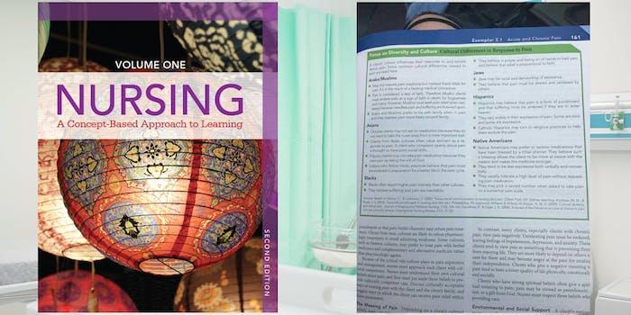 Pearson Nursing handbook with racist pain chart