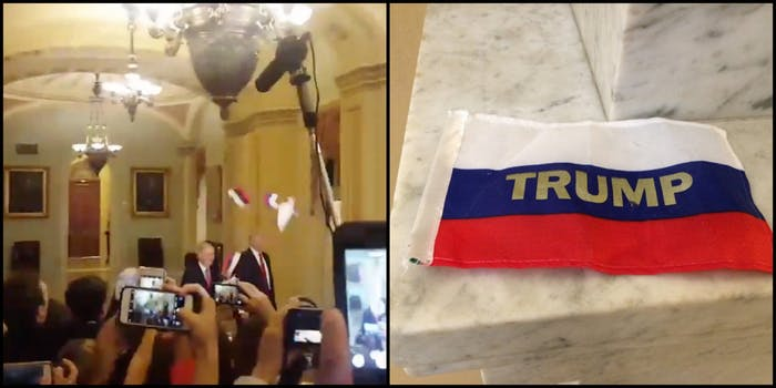 Trump Russian Flags Protest