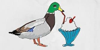 Macquarie illustration of a duck drinking a milkshake