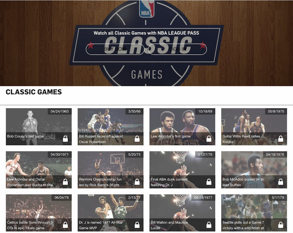 NBA League Pass classic games