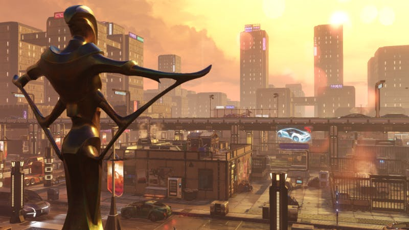 A statue for ADVENT, a human government that's collaborated with the alien invaders, overlooks the city.