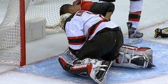 hockey nut shot new jersey devils keith kinkaid