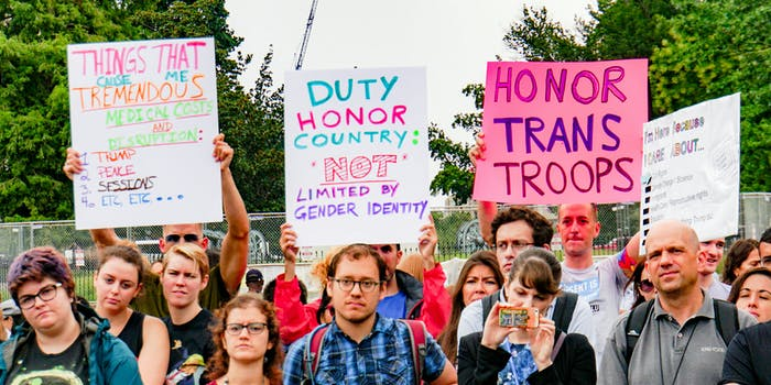 President Donald Trump's ban on trans troops was met with national protests.