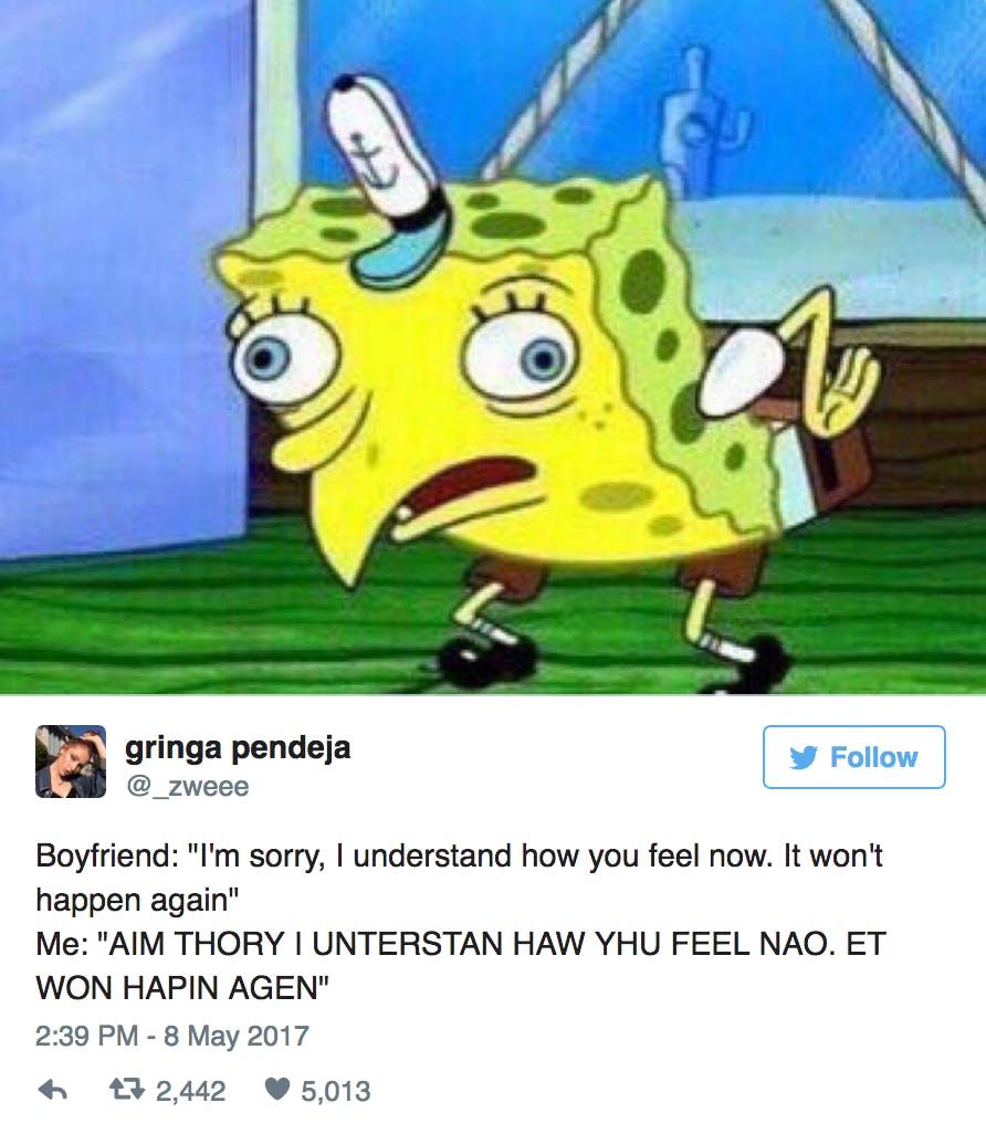 spongebob mocking meme