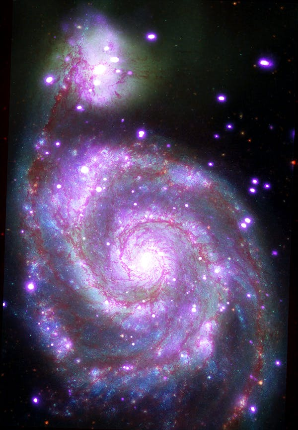 """""""Messier 51 (M51): This galaxy, nicknamed the 'Whirlpool,' is a spiral galaxy, like our Milky Way, located about 30 million light years from Earth. This composite image combines data collected at X-ray wavelengths by Chandra (purple), ultraviolet by the Galaxy Evolution Explorer (GALEX, blue); visible light by Hubble (green), and infrared by Spitzer (red)."""""""