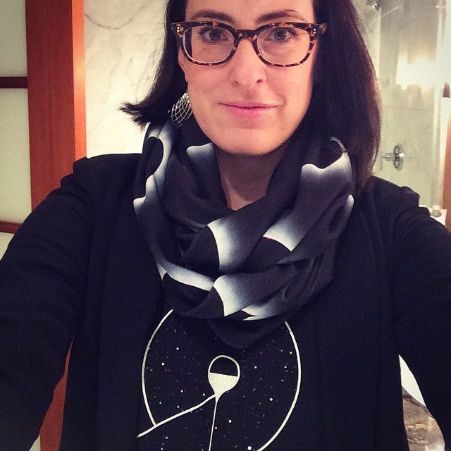 Ash's Shadowplaynyc pieces, especially her scarves like the one seen here, are her favorite science fashion purchases.