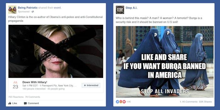 Russia state-sponsored anti-Hillary Clinton, anti-Islamic Facebook ads