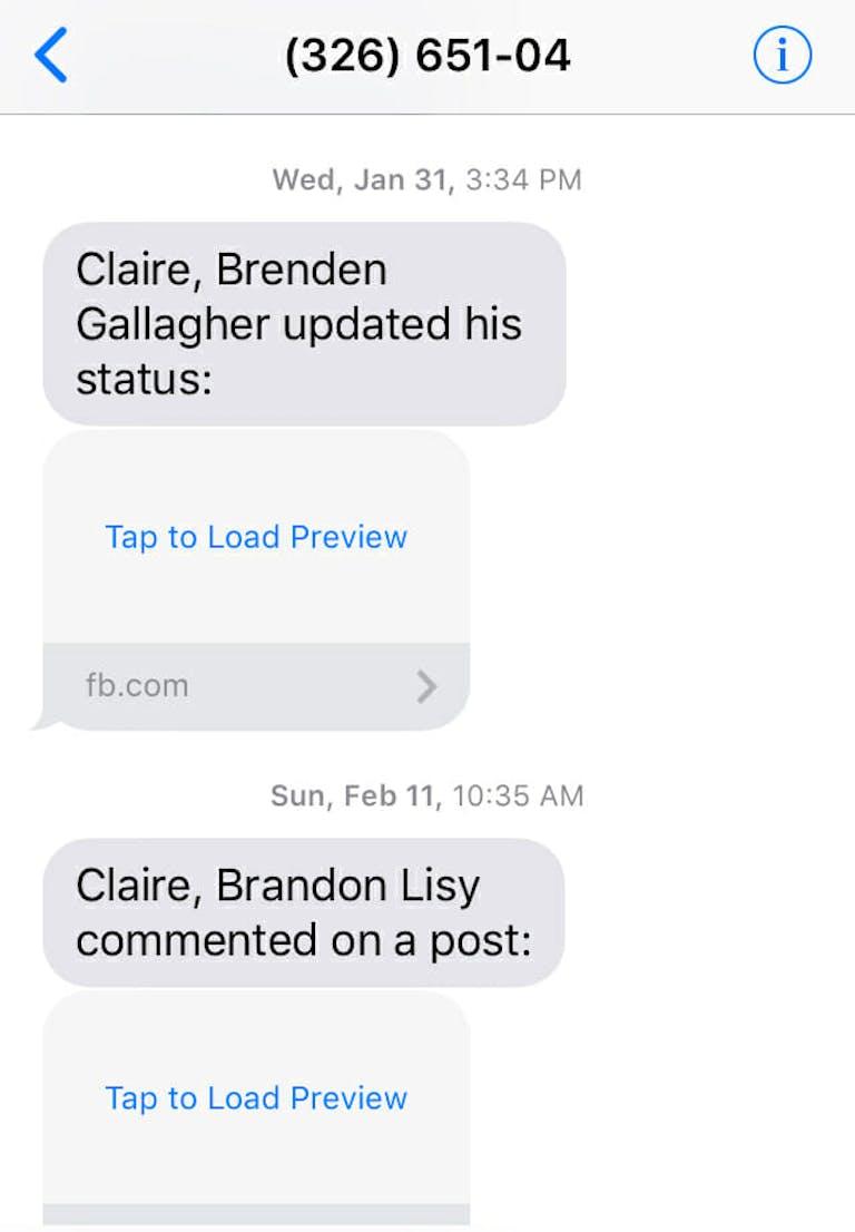 facebook text messages