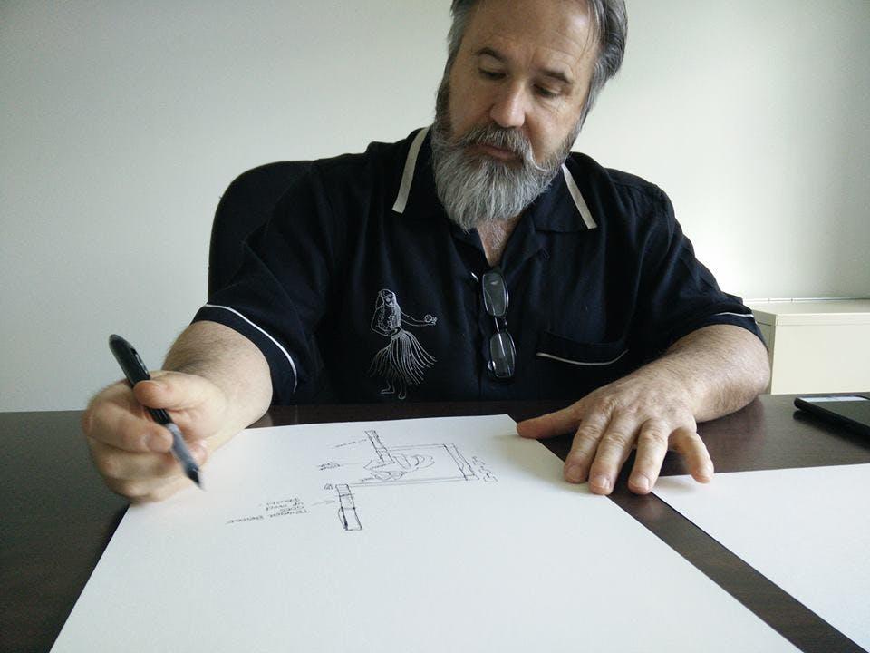 Carter at work on Zed's design
