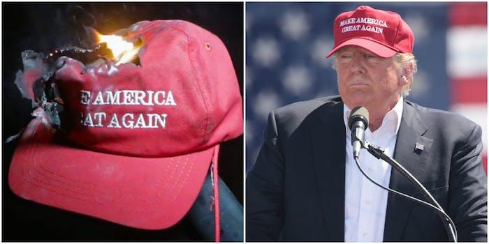 Burning 'MAGA hat and Donald Trump