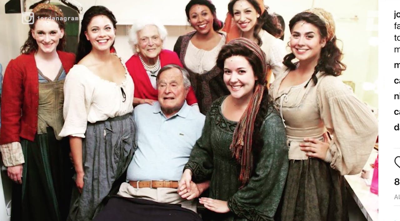 George H.W. Bush with Jordana Grolnick, who says he groped her during a photo op