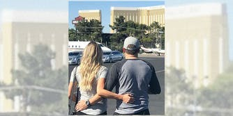 Jason and Brittany Aldean walking together in Las Vegas
