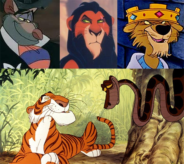 """A comparison of Ratigan (Great Mouse Detective), Scar (Lion King), and Prince John (Robin Hood) above a still from the Jungle Book showing Shere Khan and Kaa (tiger and snake) in conversation. The images illustrate the shared physical characteristics between the characters--arched eyebrows, high """"cheeks,"""" and long snouts."""