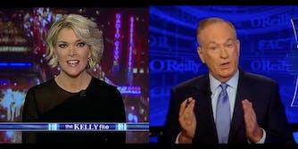 Video stills of Megyn Kelly and Bill O'Reilly