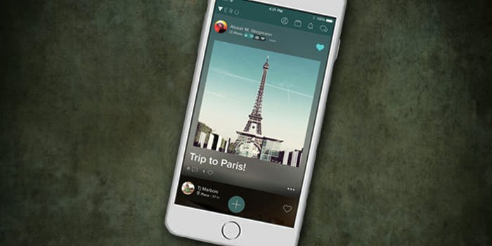 iPhone with Vero on grungy ground