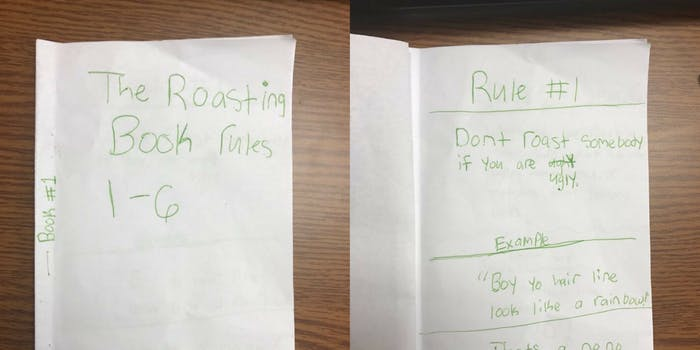 A 'How to Roast' book made by grade school kids.