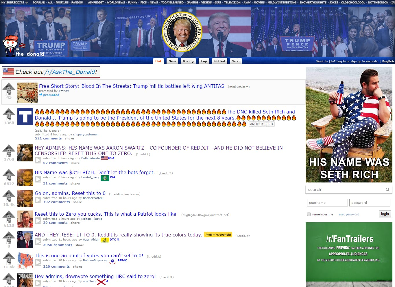 Reddit the Donald and 4chan : Seth Rich murder conspiracy