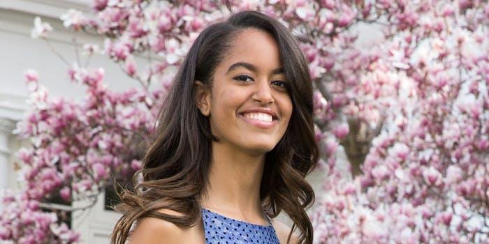 Malia Obama in the Rose Garden