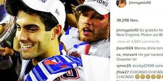 Patriots quarterback Jimmy Garoppolo Instagram hack