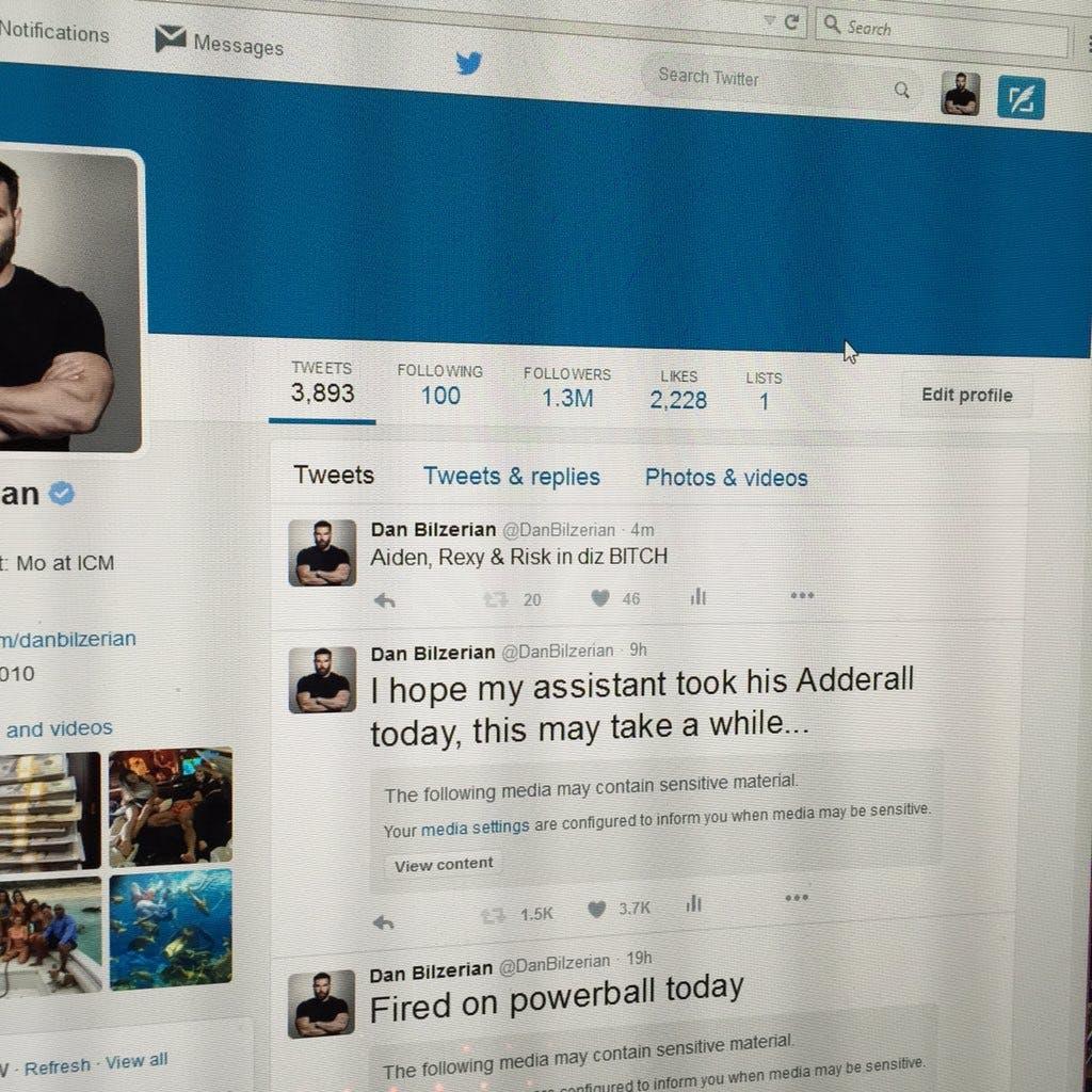 Bilzerian's logged-in Twitter profile
