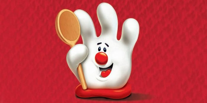 Hamburger Helper hand holding wooden spoon