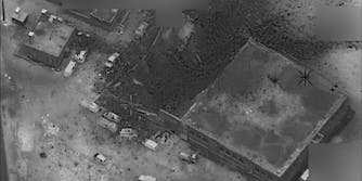 U.S. Pentagon aerial photo shows the aftermath of the March 16 attack near western Aleppo, Syria.
