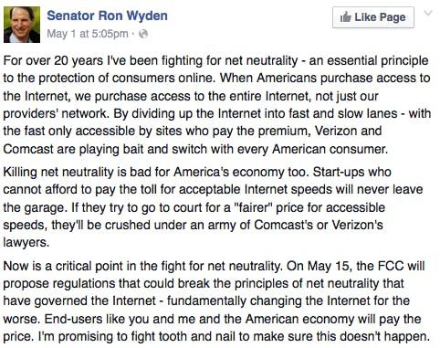 Ron Wyden net neutrality Facebook post