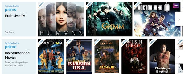 menu of one of the best movie streaming sites amazon prime
