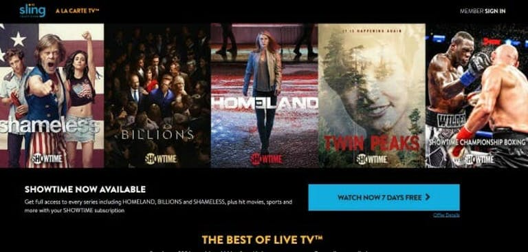 Showtime boxing on Sling TV