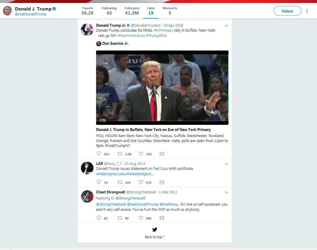 Donald Trump's first like on Twitter was of someone calling him 'self-possessed'