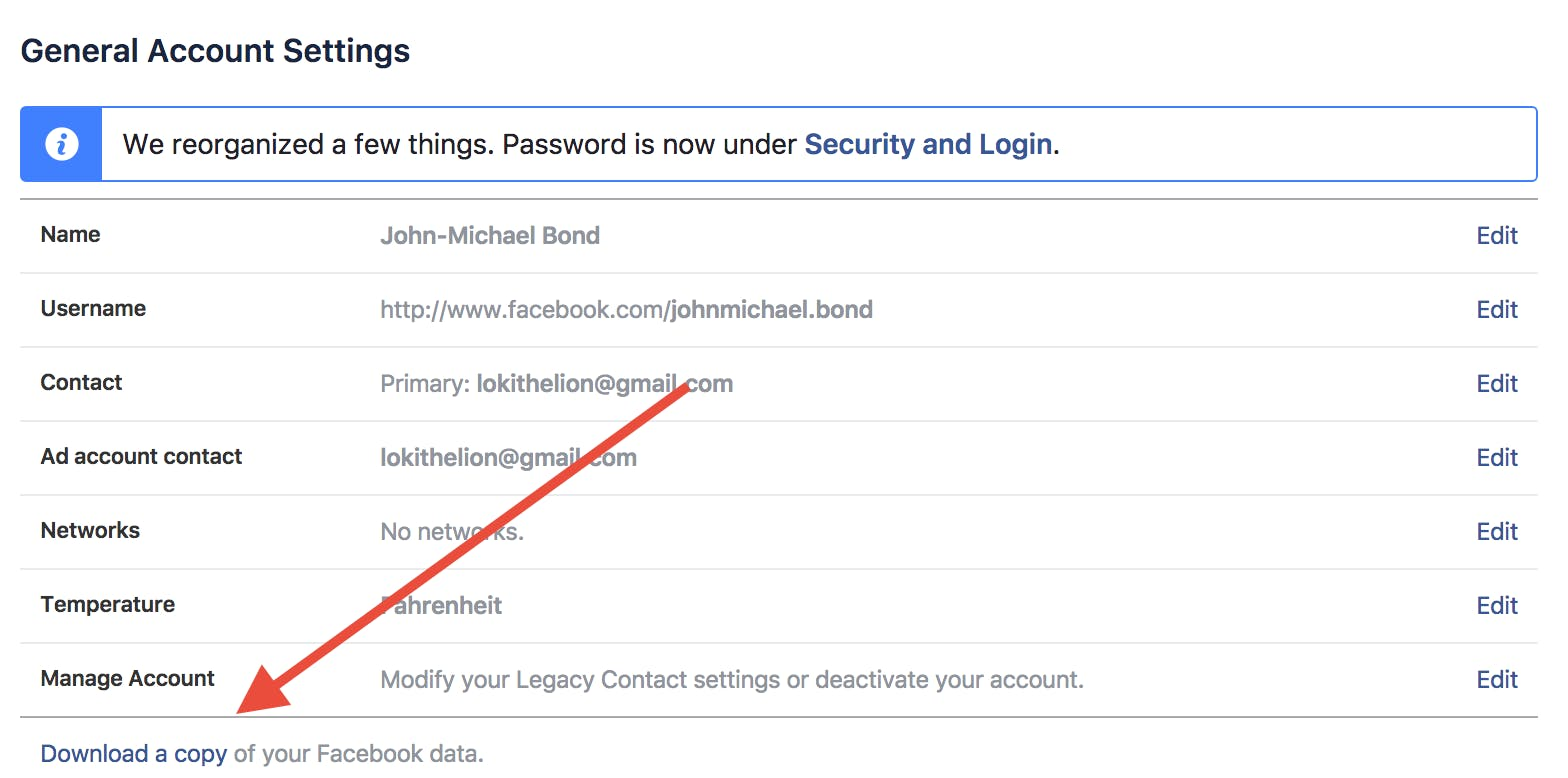 how to deactivate your facebook account : backup facebook data