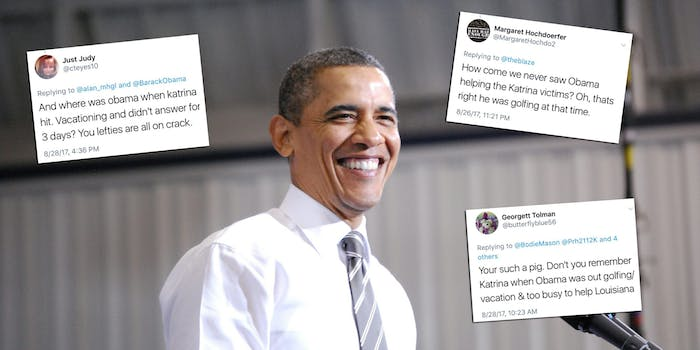 People on Twitter are incorrectly saying Obama was president during Katrina.