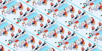 microworkers : Office workers sitting at their desks