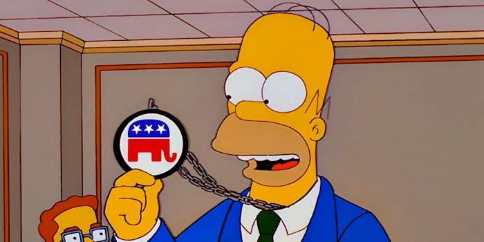 Homer Simpson holding a GOP logo medallion