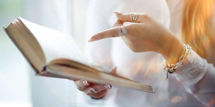 Woman pointing at text
