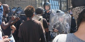 Protesters and St Louis police during Jason Stockley verdict protest