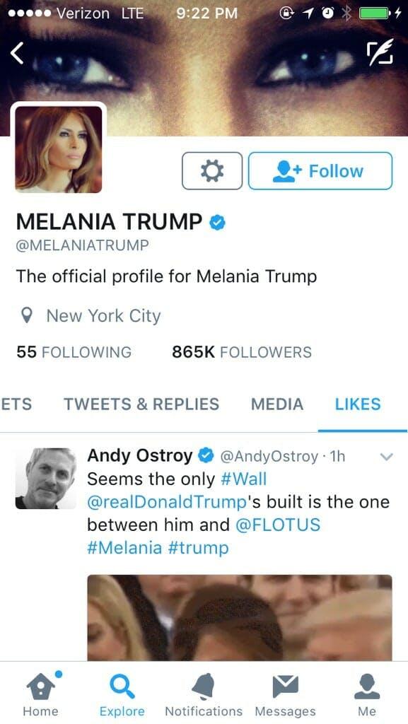 melania trump twitter like: melania likes tweet about her marriage