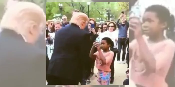 """Donald Trump disgrace : Little girl tells Trump impersonator that """"You're a disgrace to the world"""""""