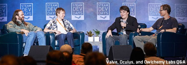 Joe Ludwig, developer from Valve Software; Devin Reimer, Chief Technical Officer of Owlchemy Labs; Palmer Luckey, Oculus founder; and Michael Abrash, developer at Valve Software (left to right) presenting at Steam Dev Days.
