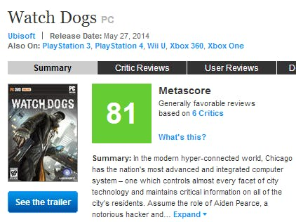 A screenshot of the Xbox One Metascore on May 27, 2014, which is 81