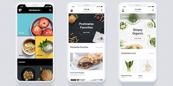 Postmates new app screen grabs on iPhone X