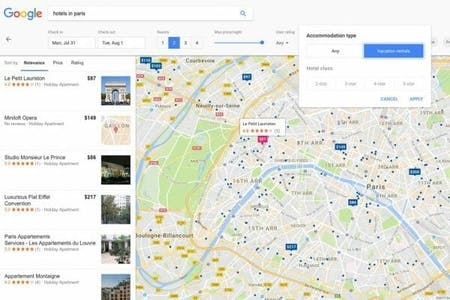 Google vacation rental search