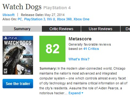 A screenshot of the Xbox One Metascore on May 27, 2014, which is 82