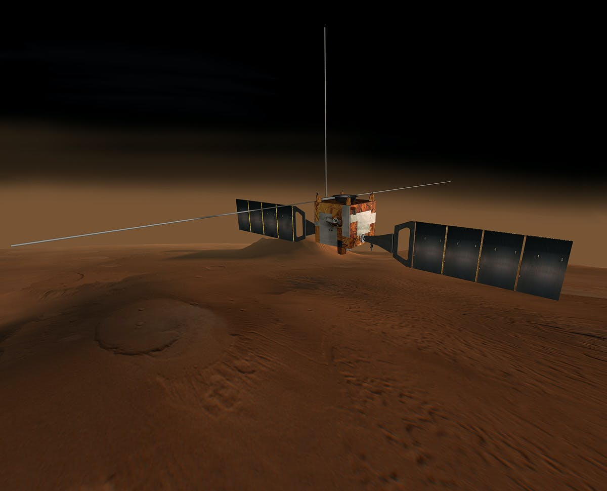 A computer-generated rendering of Mars Express.